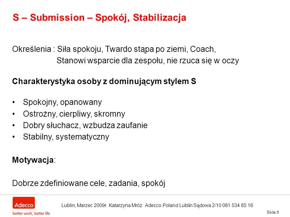 S – Submission – Spokój, Stabilizacja