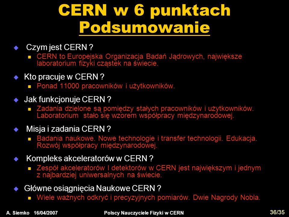 CERN w 6 punktach Podsumowanie