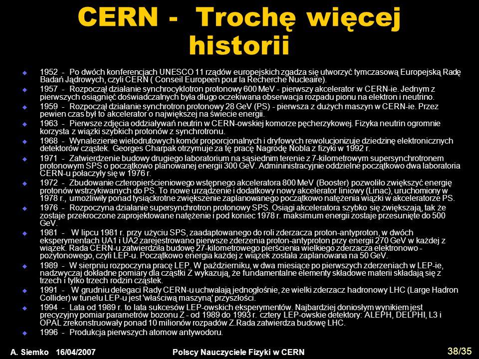 CERN - Trochę więcej historii