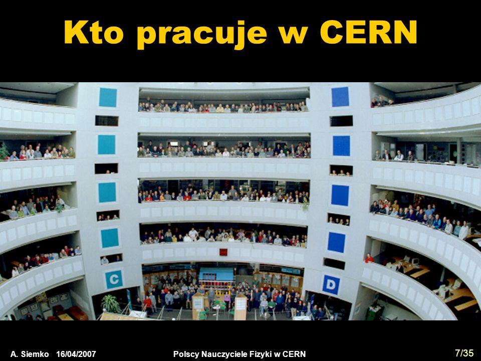 Kto pracuje w CERN A. Siemko 16/04/2007