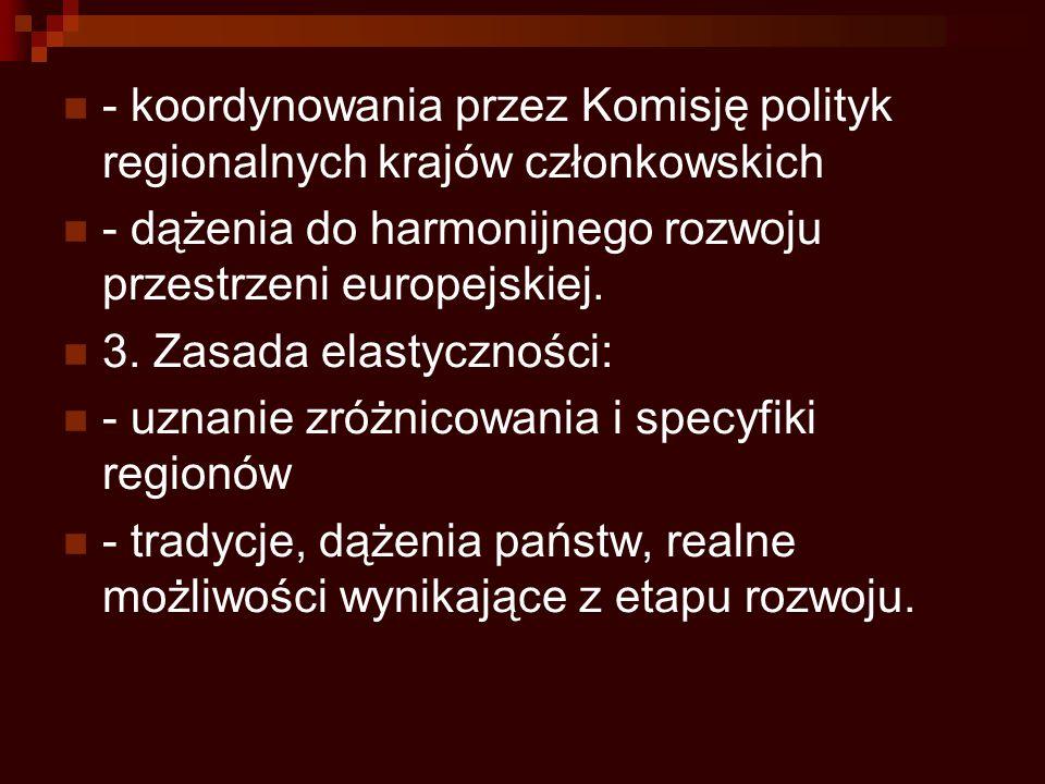 - koordynowania przez Komisję polityk regionalnych krajów członkowskich