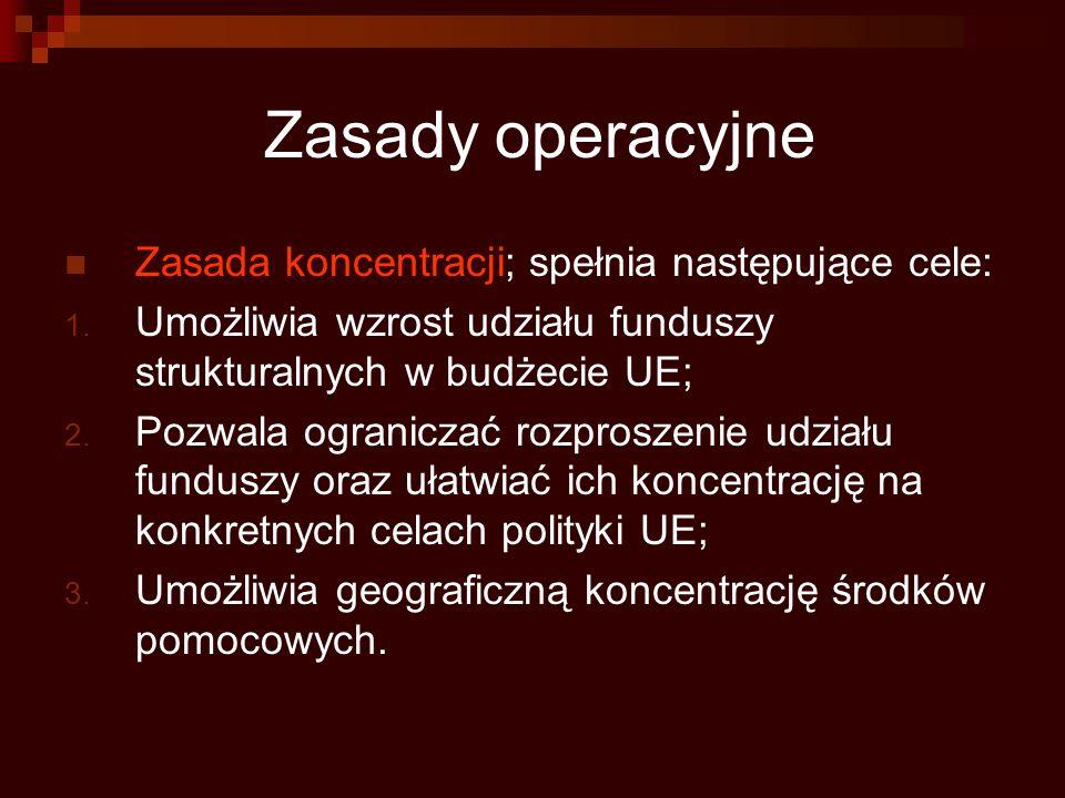Zasady operacyjne Zasada koncentracji; spełnia następujące cele: