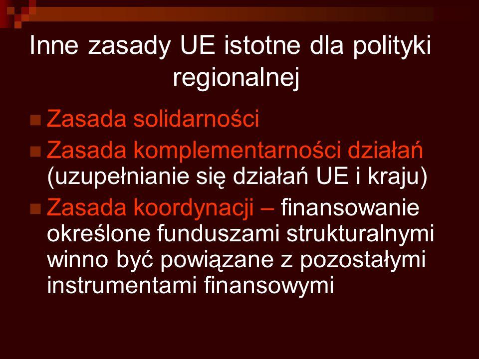 Inne zasady UE istotne dla polityki regionalnej