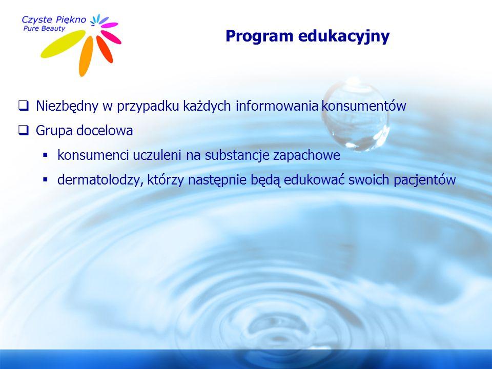 Program edukacyjny Niezbędny w przypadku każdych informowania konsumentów. Grupa docelowa. konsumenci uczuleni na substancje zapachowe.
