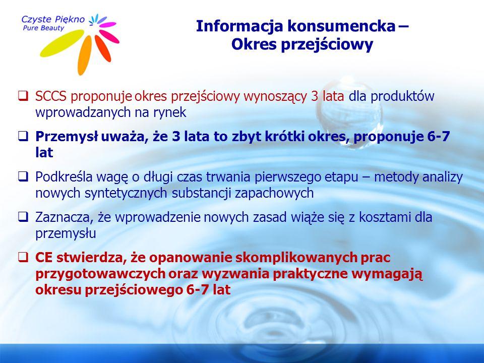Informacja konsumencka – Okres przejściowy