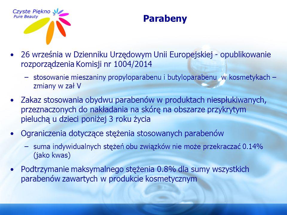 Parabeny 26 września w Dzienniku Urzędowym Unii Europejskiej - opublikowanie rozporządzenia Komisji nr 1004/2014.