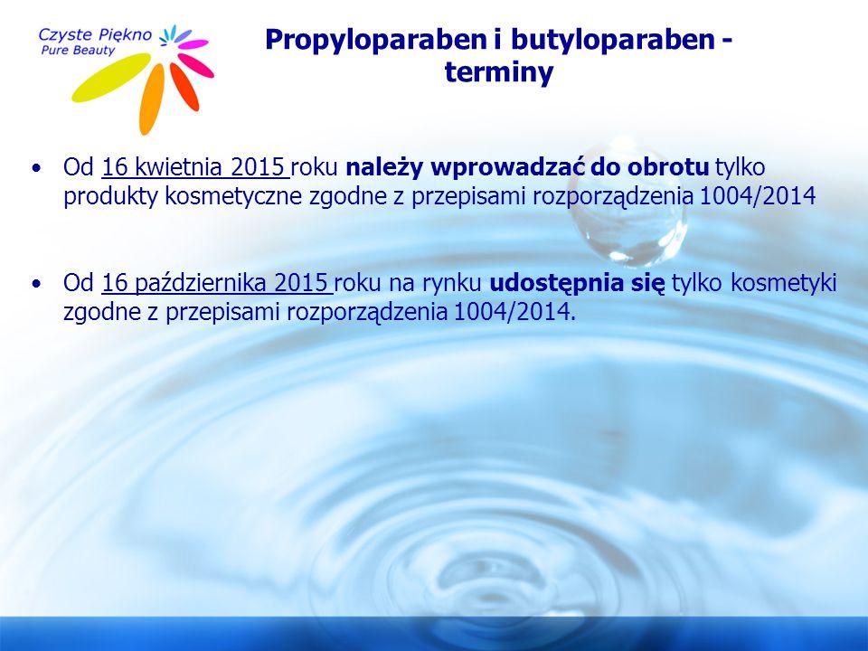 Propyloparaben i butyloparaben - terminy
