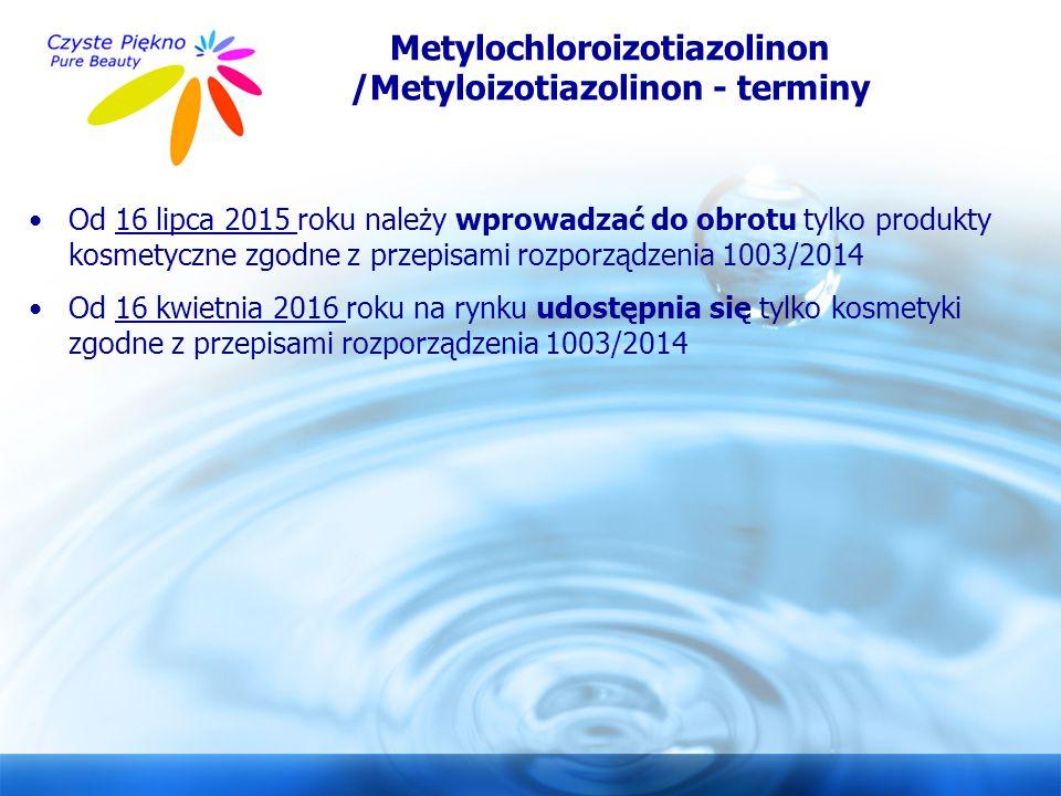 Metylochloroizotiazolinon /Metyloizotiazolinon - terminy