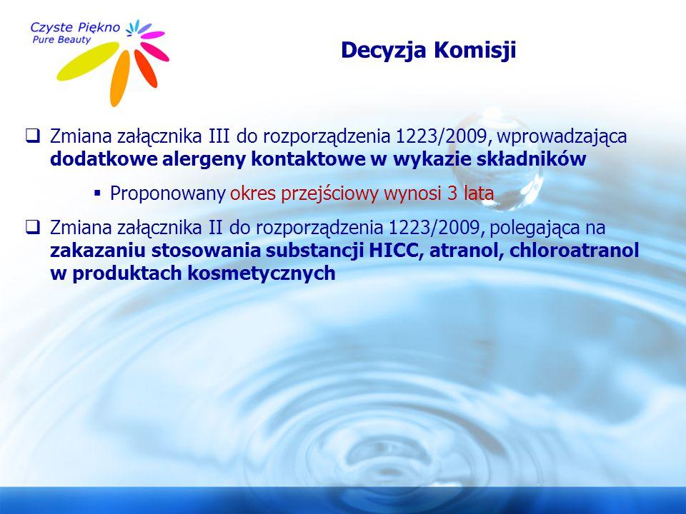 Decyzja Komisji Zmiana załącznika III do rozporządzenia 1223/2009, wprowadzająca dodatkowe alergeny kontaktowe w wykazie składników.