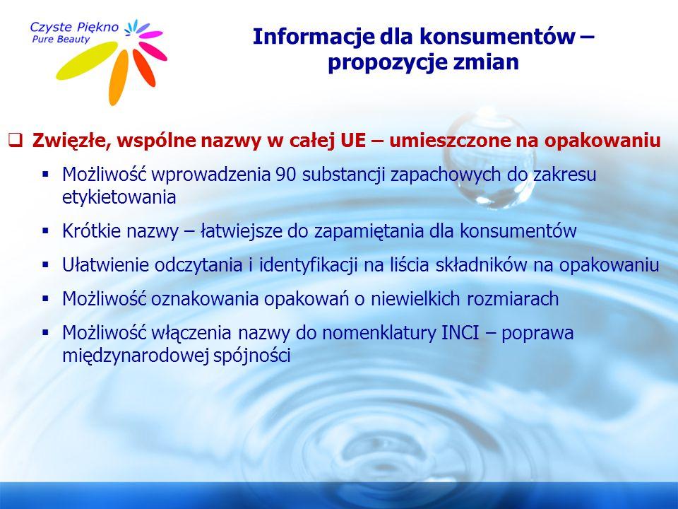 Informacje dla konsumentów – propozycje zmian