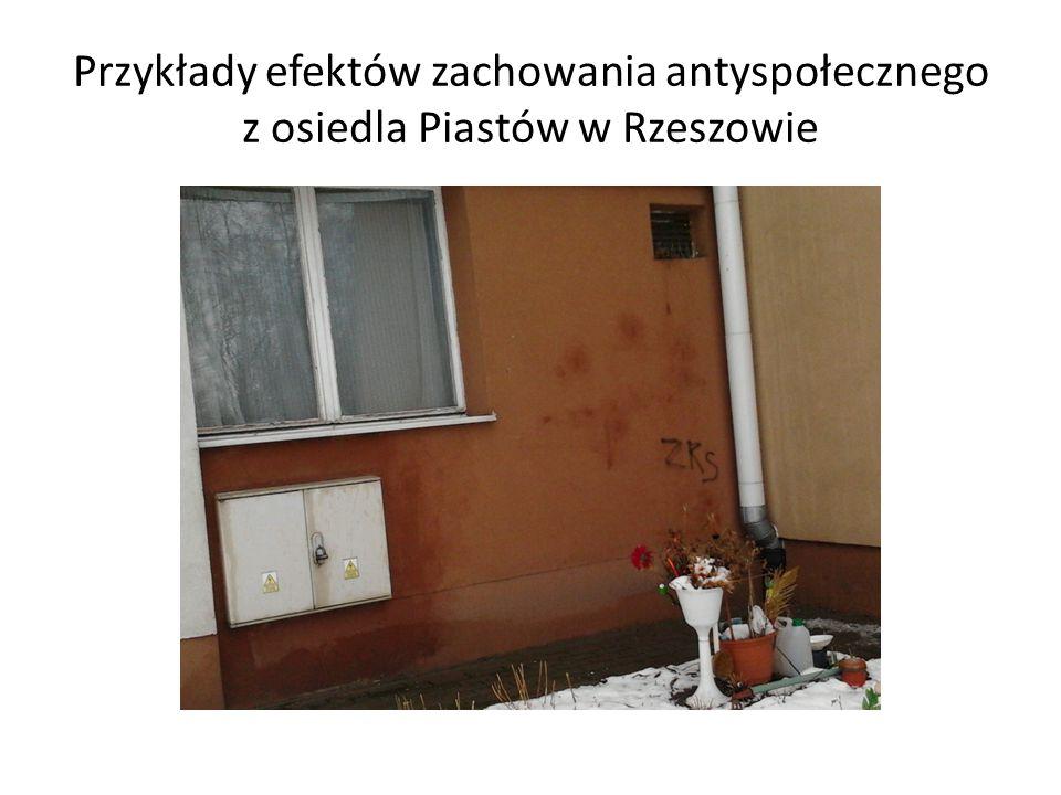 Przykłady efektów zachowania antyspołecznego z osiedla Piastów w Rzeszowie