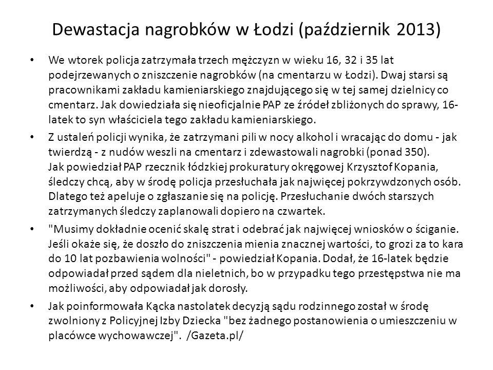 Dewastacja nagrobków w Łodzi (październik 2013)
