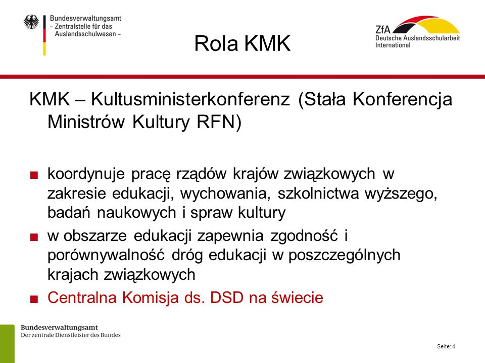 Rola KMK KMK – Kultusministerkonferenz (Stała Konferencja Ministrów Kultury RFN)