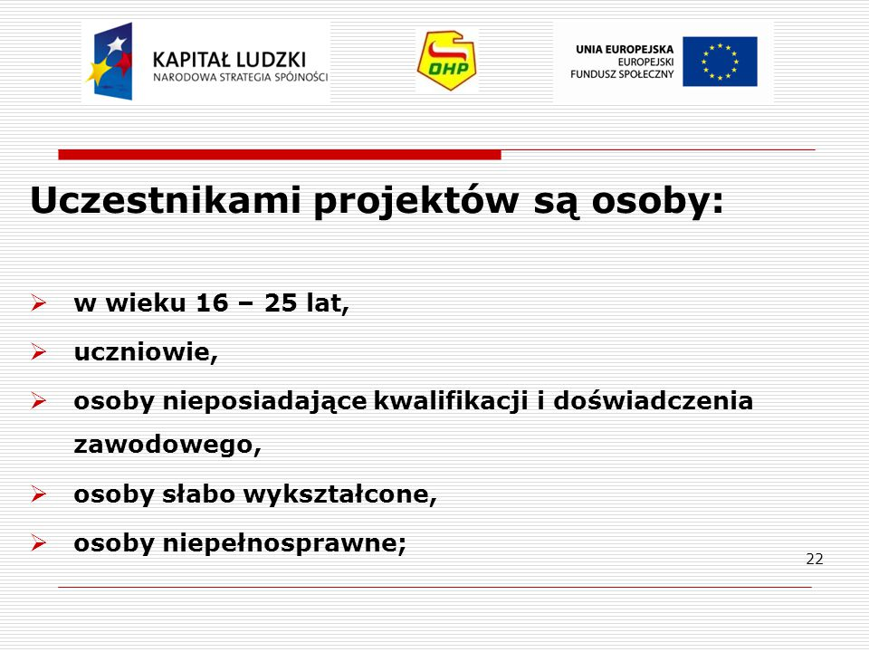 Uczestnikami projektów są osoby: