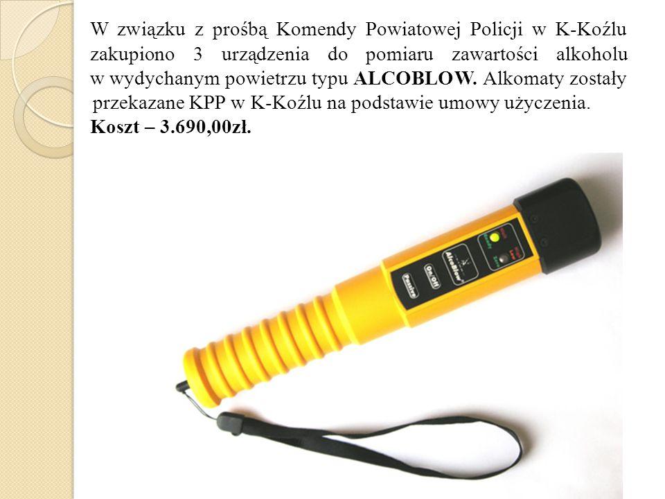 W związku z prośbą Komendy Powiatowej Policji w K-Koźlu zakupiono 3 urządzenia do pomiaru zawartości alkoholu w wydychanym powietrzu typu ALCOBLOW.