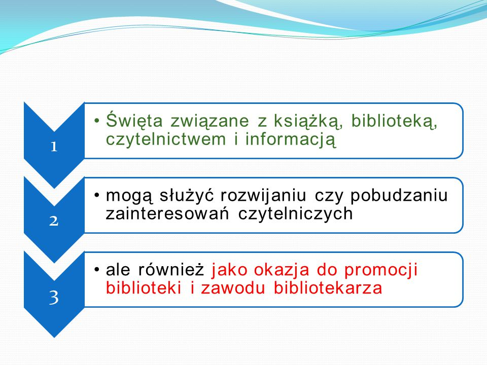1 Święta związane z książką, biblioteką, czytelnictwem i informacją. 2. mogą służyć rozwijaniu czy pobudzaniu zainteresowań czytelniczych.