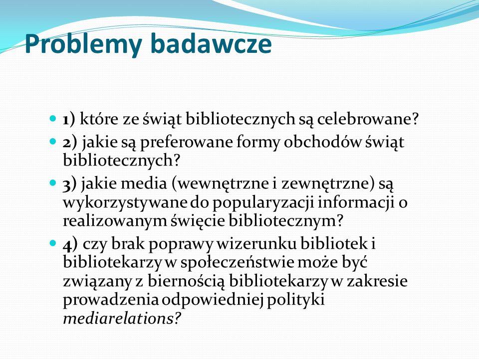 Problemy badawcze 1) które ze świąt bibliotecznych są celebrowane