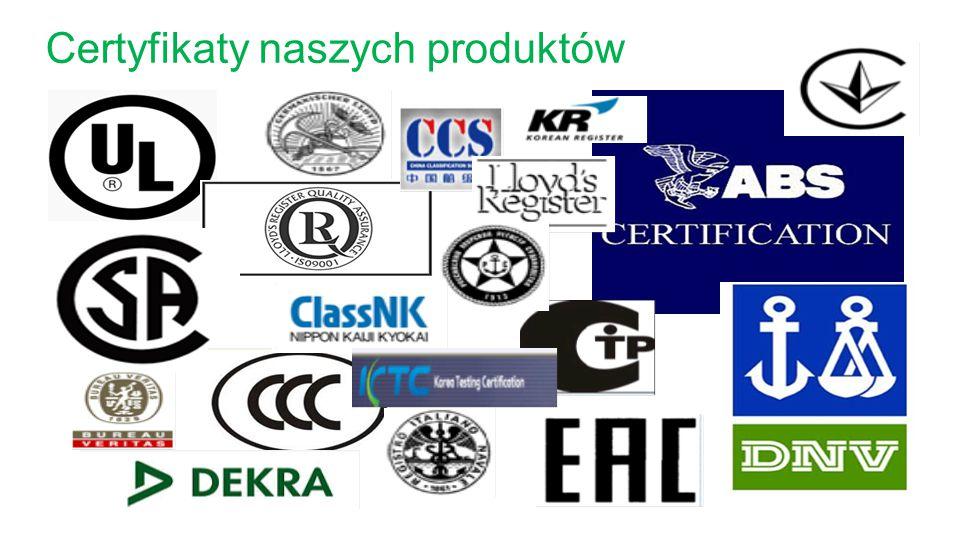 Certyfikaty naszych produktów