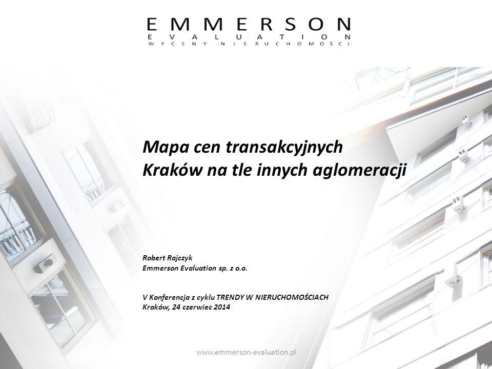 Mapa cen transakcyjnych Kraków na tle innych aglomeracji