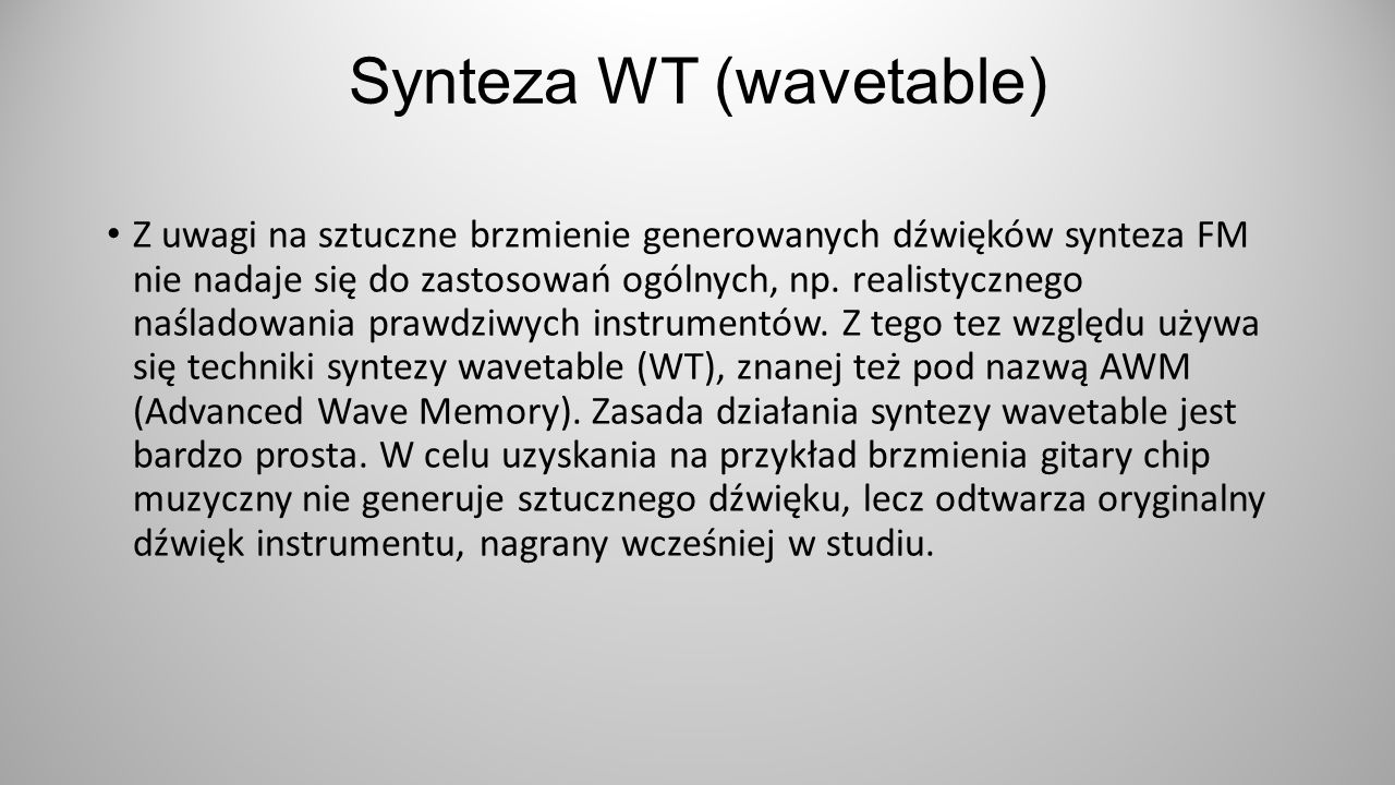 Synteza WT (wavetable)