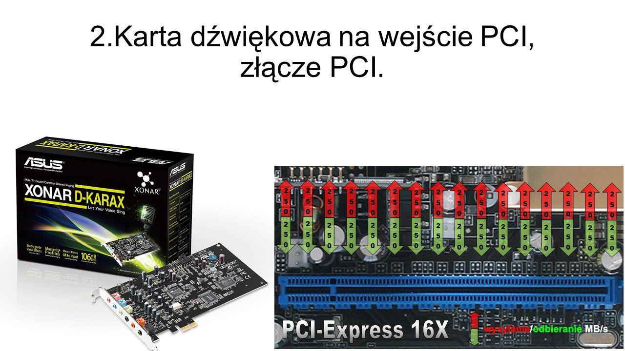 2.Karta dźwiękowa na wejście PCI, złącze PCI.
