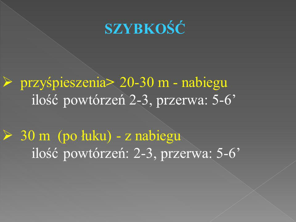 SZYBKOŚĆ przyśpieszenia> 20-30 m - nabiegu. ilość powtórzeń 2-3, przerwa: 5-6' 30 m (po łuku) - z nabiegu.