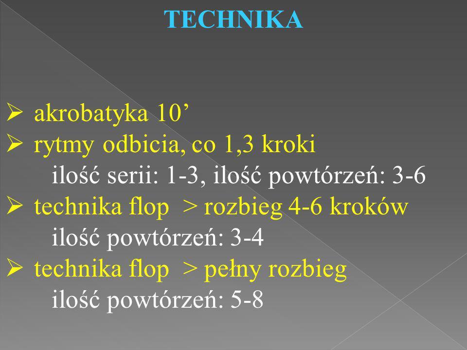 TECHNIKA akrobatyka 10' rytmy odbicia, co 1,3 kroki. ilość serii: 1-3, ilość powtórzeń: 3-6. technika flop > rozbieg 4-6 kroków.