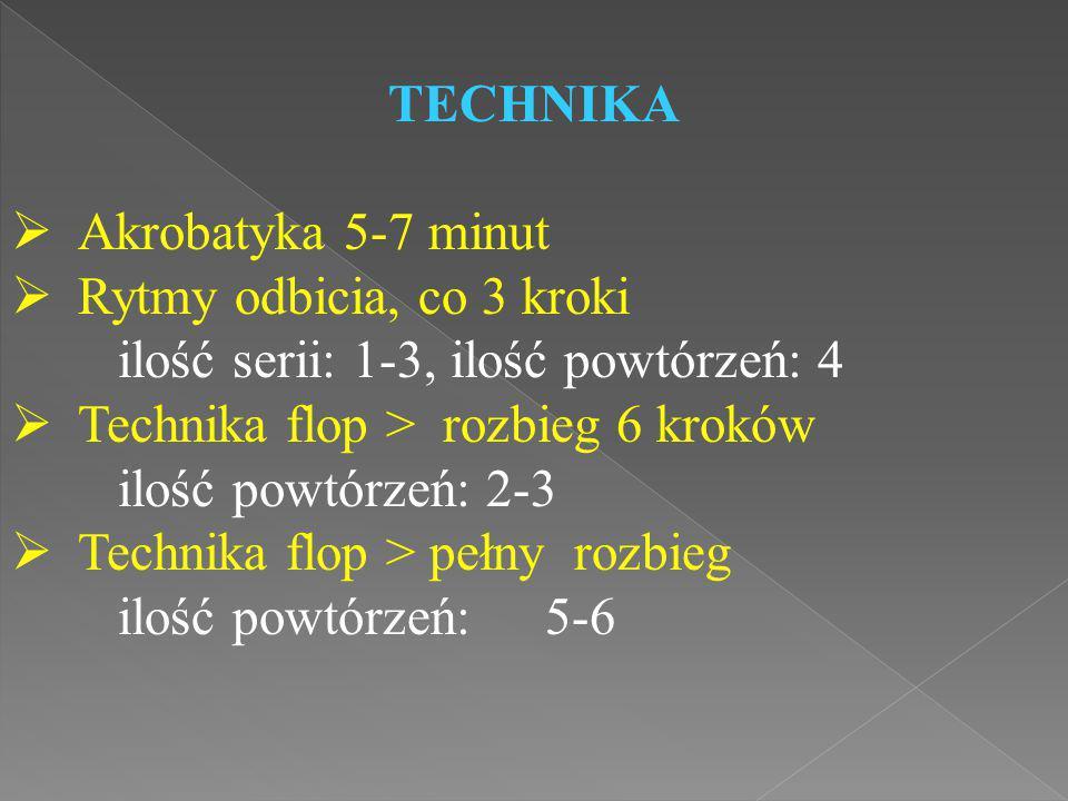 TECHNIKA Akrobatyka 5-7 minut. Rytmy odbicia, co 3 kroki. ilość serii: 1-3, ilość powtórzeń: 4. Technika flop > rozbieg 6 kroków.