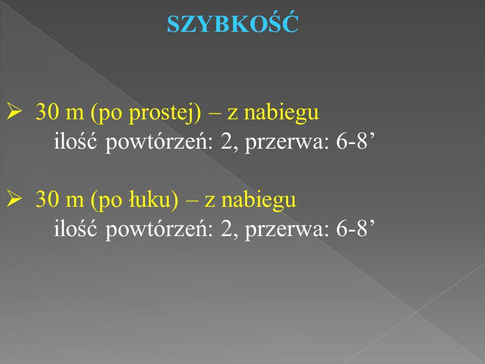 SZYBKOŚĆ 30 m (po prostej) – z nabiegu. ilość powtórzeń: 2, przerwa: 6-8' 30 m (po łuku) – z nabiegu.