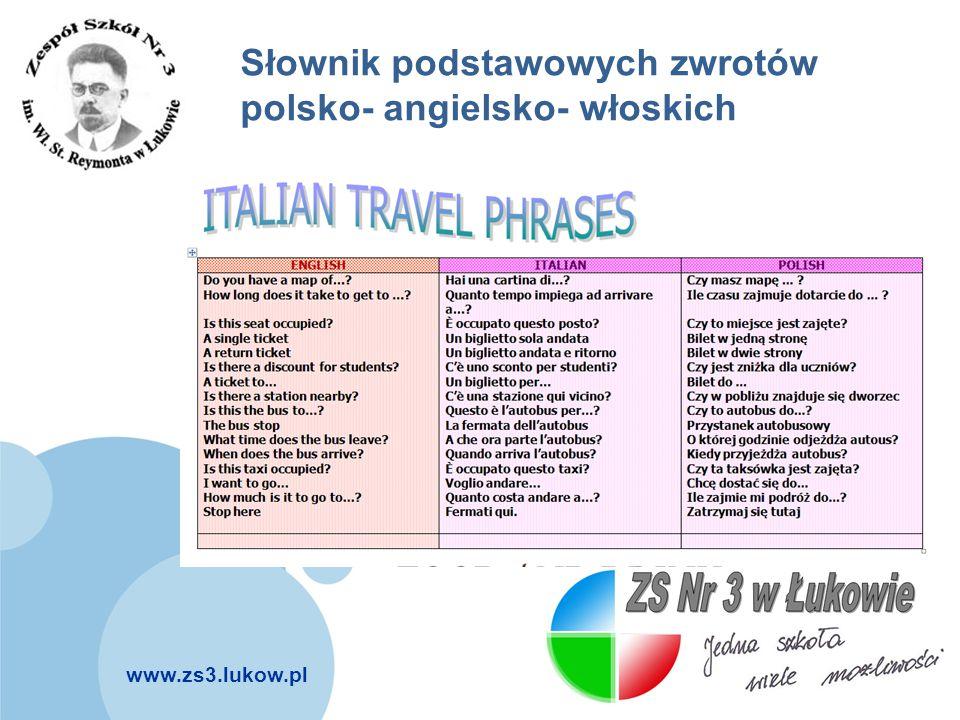 Słownik podstawowych zwrotów polsko- angielsko- włoskich