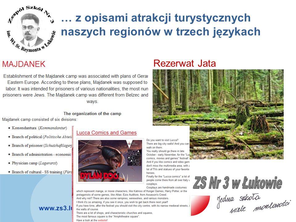 … z opisami atrakcji turystycznych naszych regionów w trzech językach