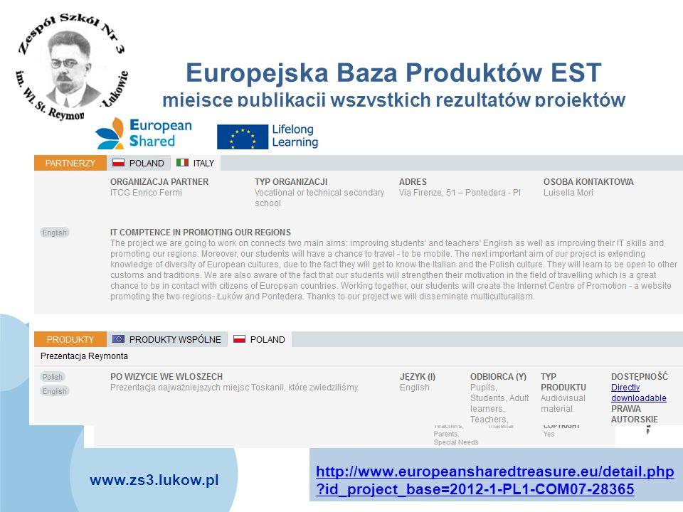 Europejska Baza Produktów EST miejsce publikacji wszystkich rezultatów projektów