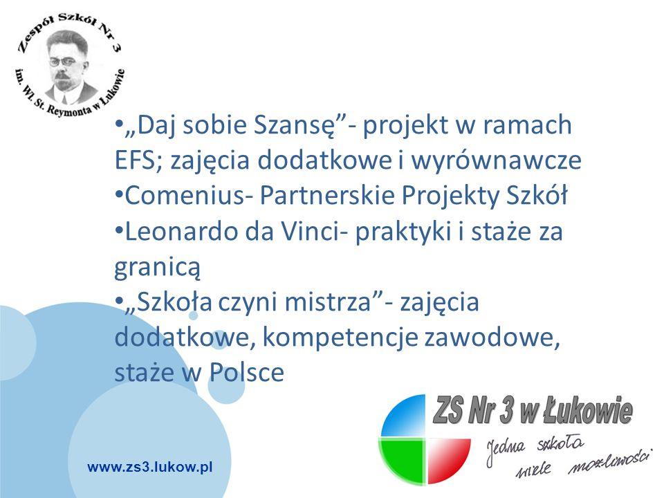 """""""Daj sobie Szansę - projekt w ramach EFS; zajęcia dodatkowe i wyrównawcze"""