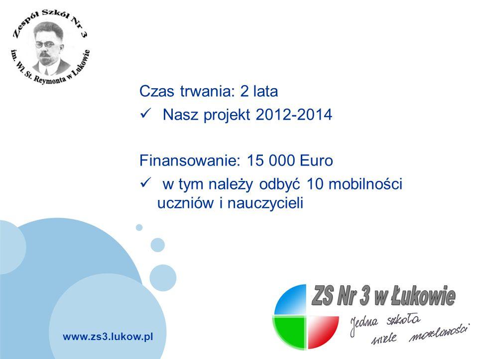 Czas trwania: 2 lata Nasz projekt 2012-2014. Finansowanie: 15 000 Euro.