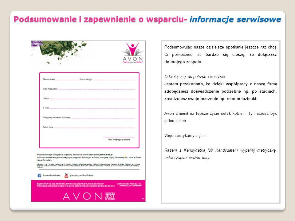 Podsumowanie i zapewnienie o wsparciu- informacje serwisowe