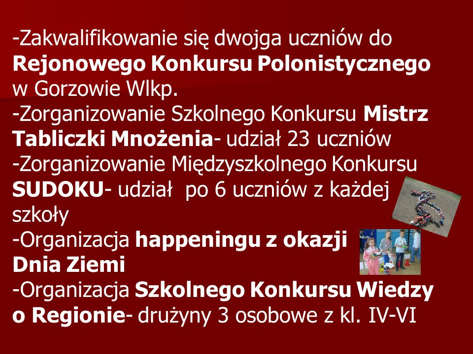 -Zakwalifikowanie się dwojga uczniów do Rejonowego Konkursu Polonistycznego w Gorzowie Wlkp.