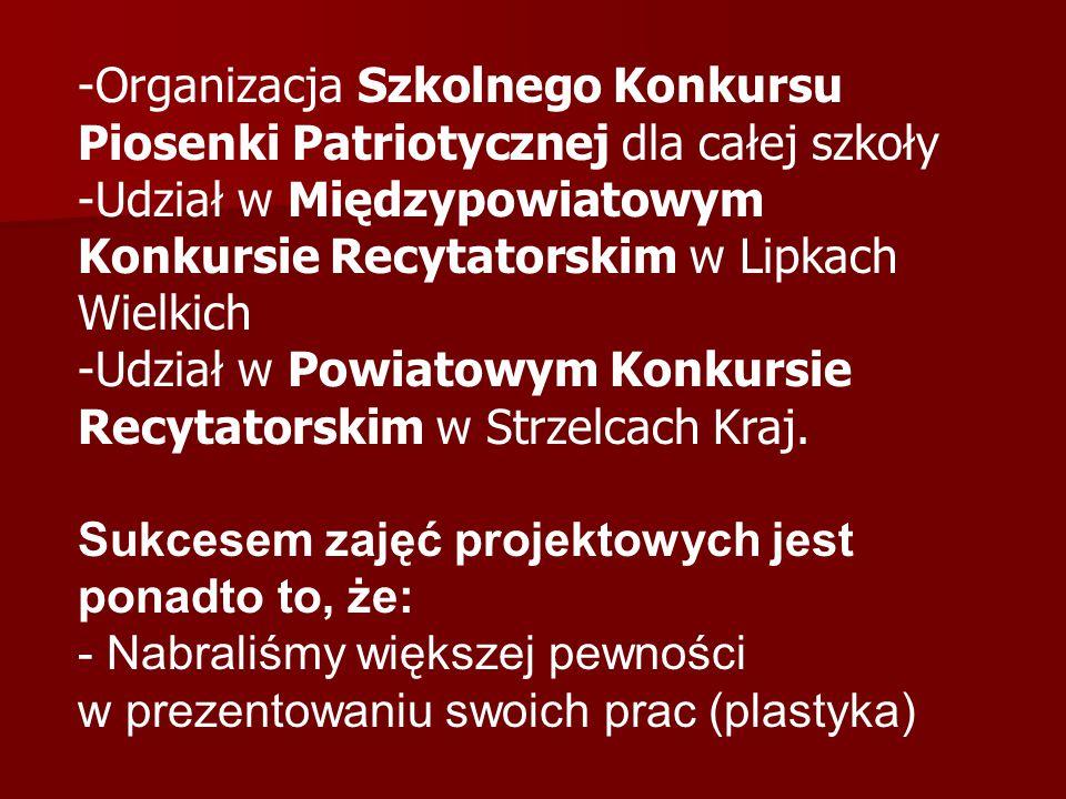 Organizacja Szkolnego Konkursu Piosenki Patriotycznej dla całej szkoły