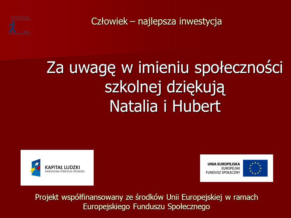 Za uwagę w imieniu społeczności szkolnej dziękują Natalia i Hubert