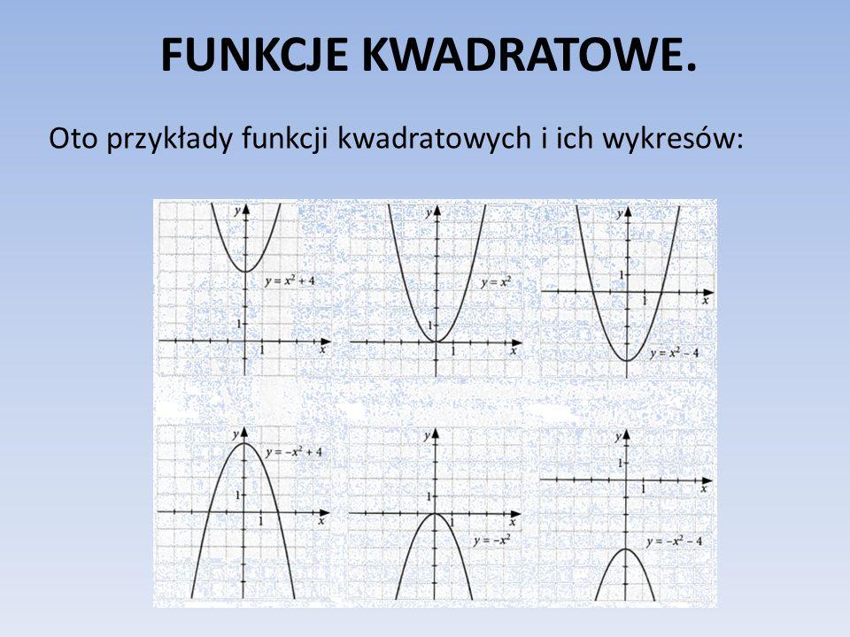FUNKCJE KWADRATOWE. Oto przykłady funkcji kwadratowych i ich wykresów: