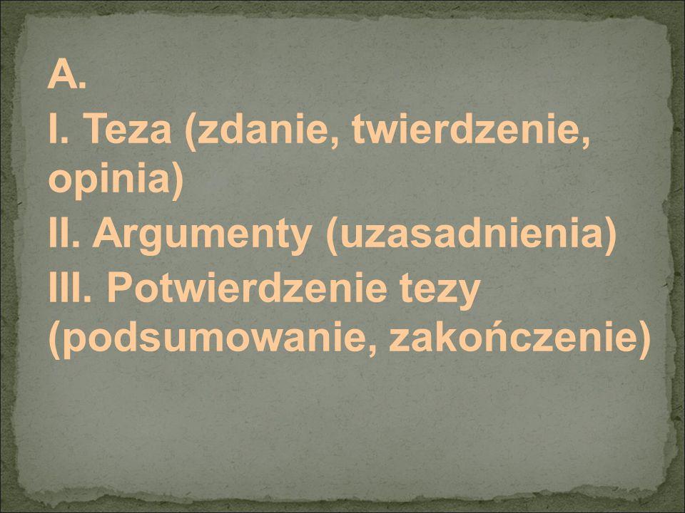A. I. Teza (zdanie, twierdzenie, opinia) II. Argumenty (uzasadnienia) III.
