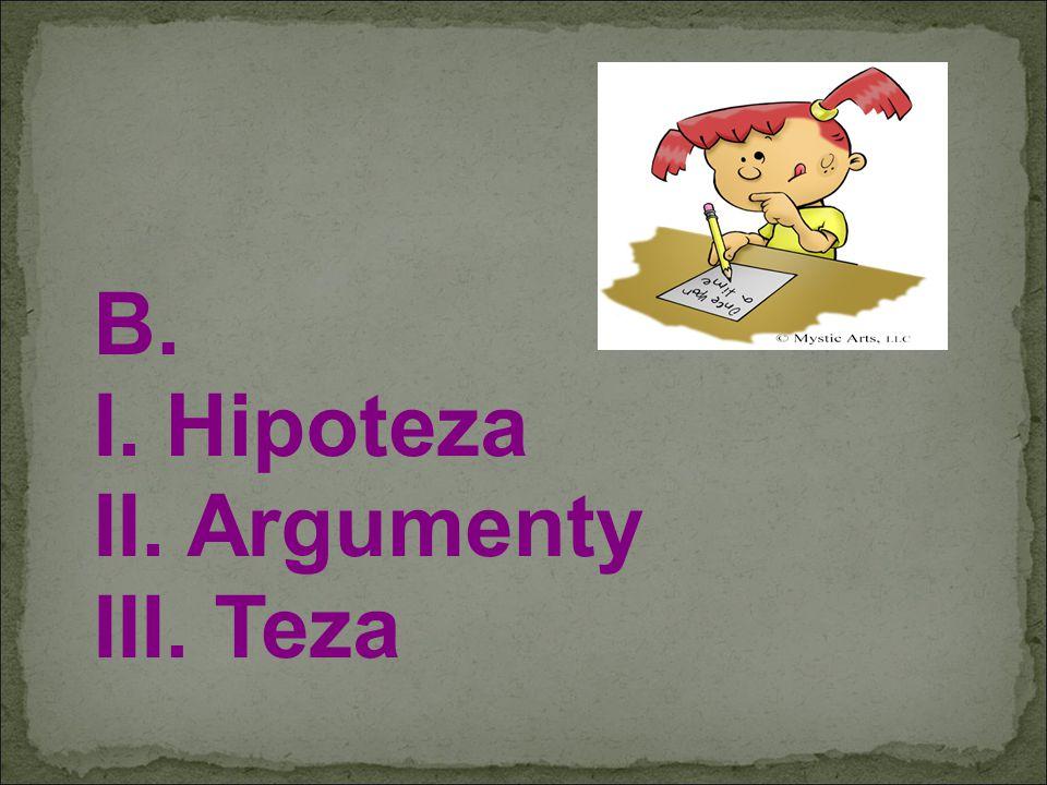 B. I. Hipoteza II. Argumenty III. Teza