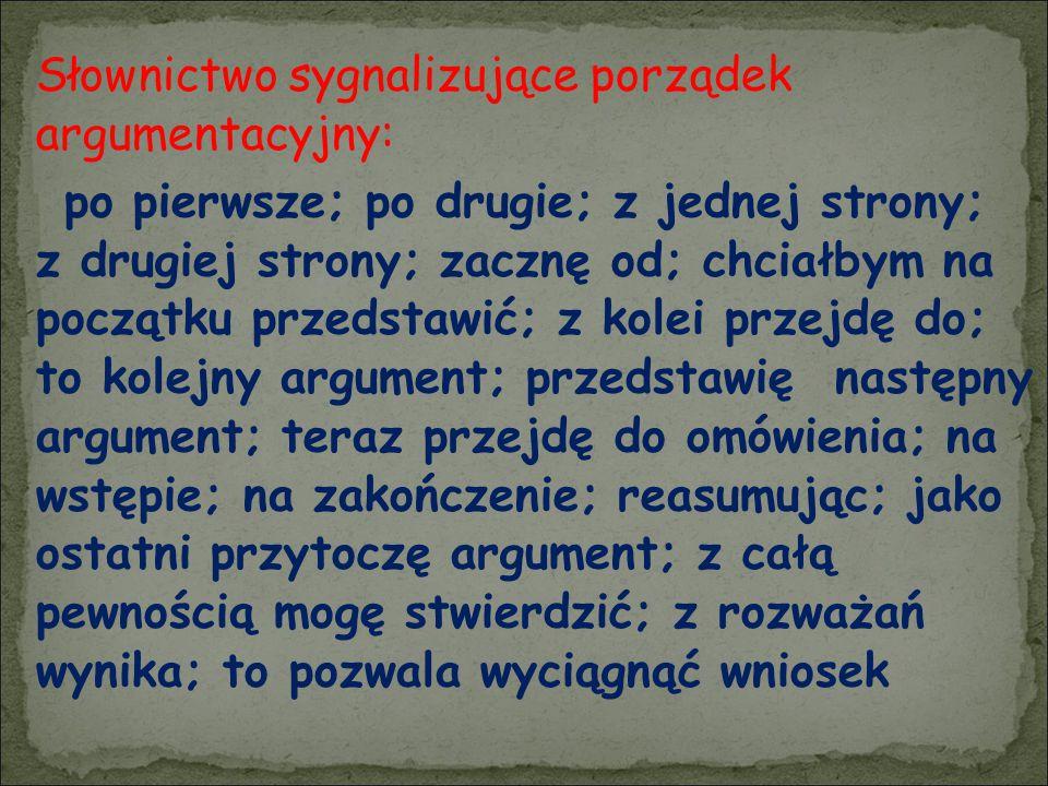 Słownictwo sygnalizujące porządek argumentacyjny: