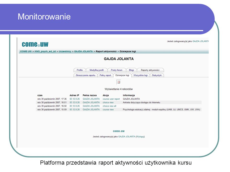 Platforma przedstawia raport aktywności użytkownika kursu