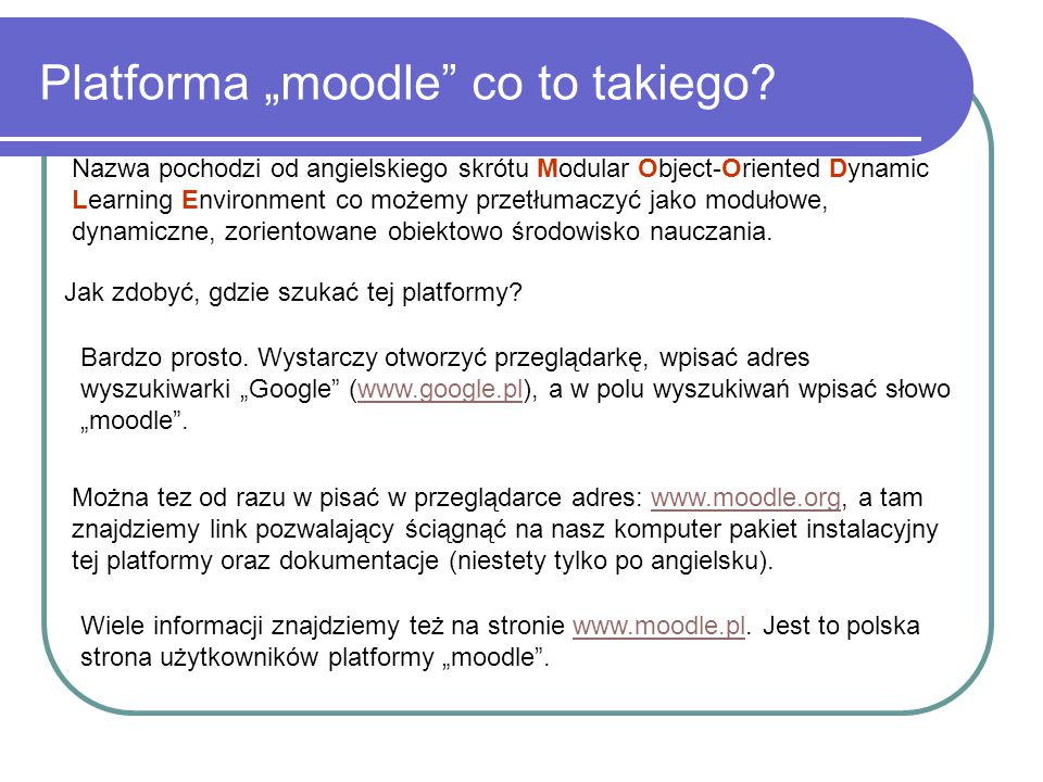 "Platforma ""moodle co to takiego"