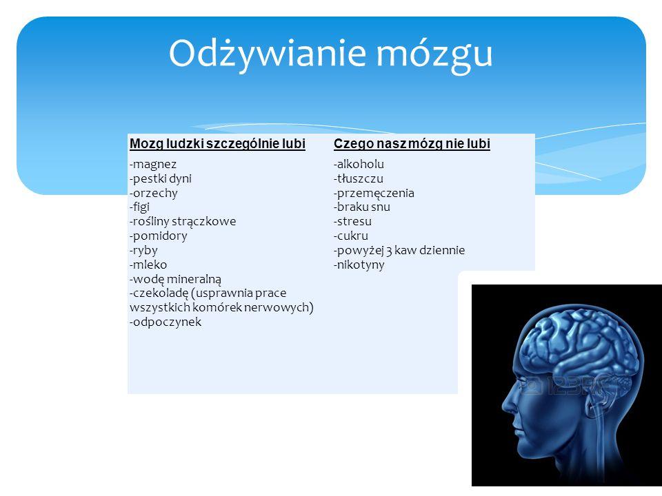Odżywianie mózgu Mozg ludzki szczególnie lubi Czego nasz mózg nie lubi