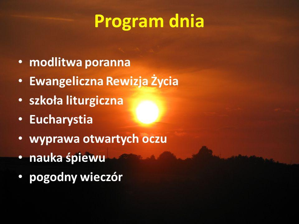 Program dnia modlitwa poranna Ewangeliczna Rewizja Życia