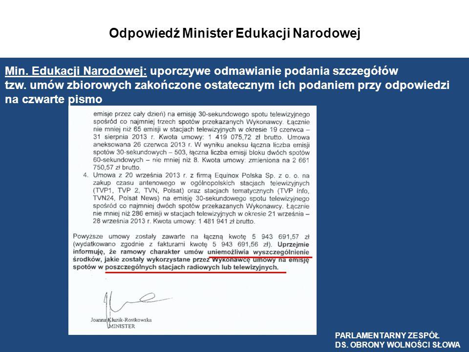 Odpowiedź Minister Edukacji Narodowej