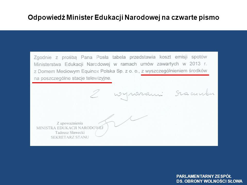 Odpowiedź Minister Edukacji Narodowej na czwarte pismo