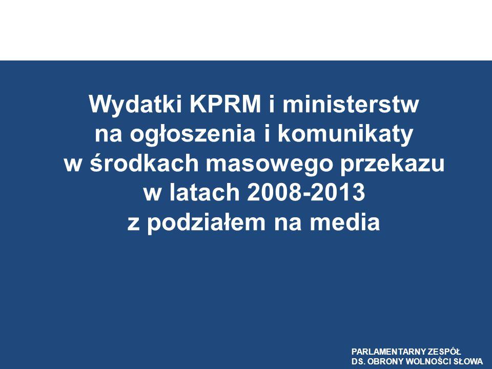 Wydatki KPRM i ministerstw na ogłoszenia i komunikaty