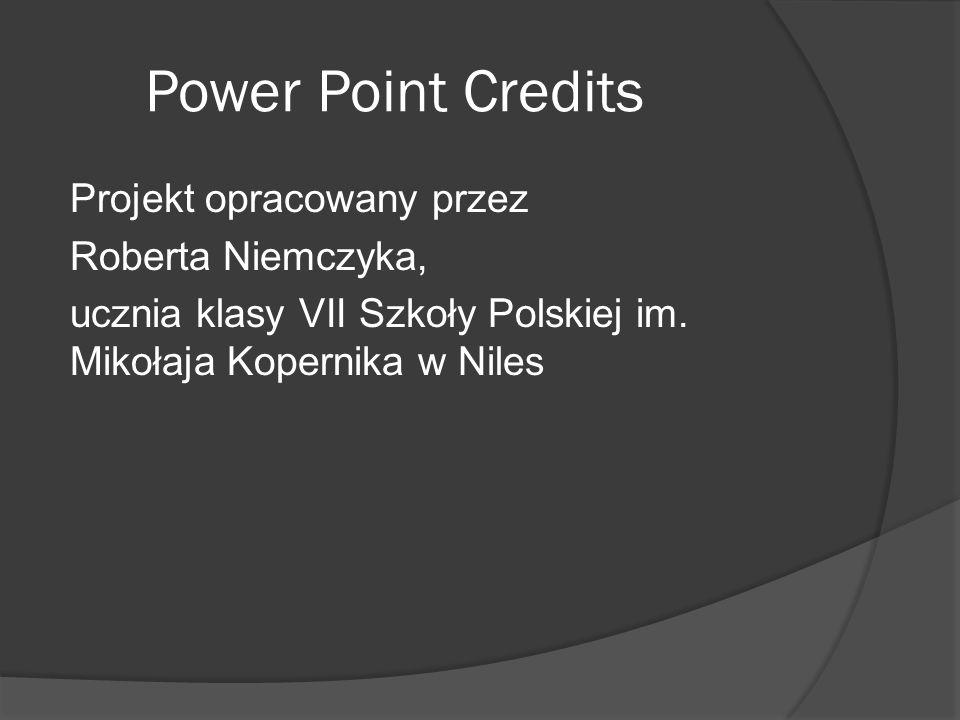 Power Point Credits Projekt opracowany przez Roberta Niemczyka, ucznia klasy VII Szkoły Polskiej im.